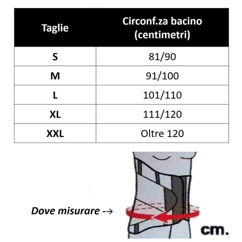 tabella misure CORSETTO ELASTICO TIELLE CAMP 523