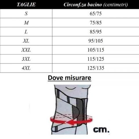 tabella misure CORSETTO spallacci pavis