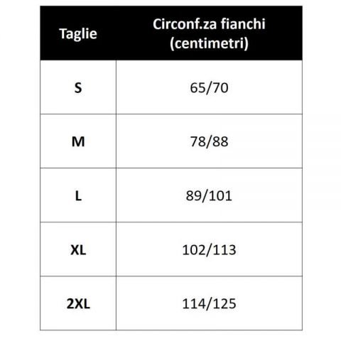 tabella misure PANCERA SOLUDOL