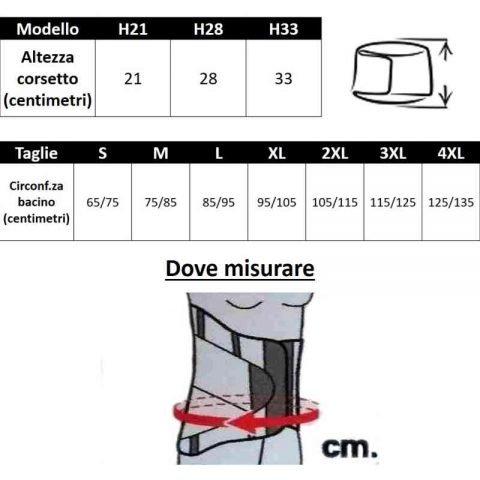 tabella misure corsetto PAVIS WELLNESS LADY