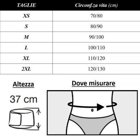 tabella misure corsetto reversa vario thuasne