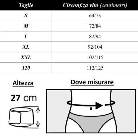 tabella misure corsetto tlm 500 x 27