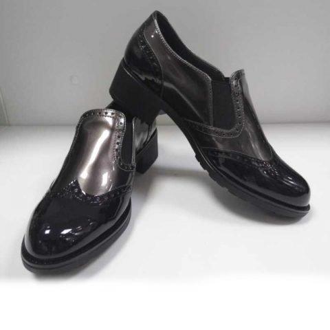 scarpe donna cinzia sot taupe lucido moda