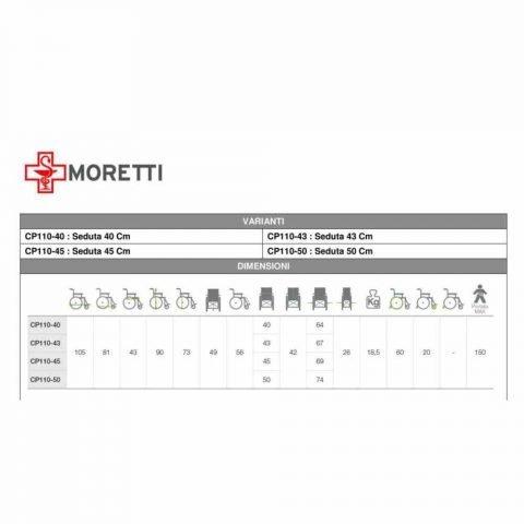 CARROZZINA PER DISABILI MORETTI CP110 misure